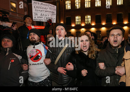 Saint Petersburg, Russia. 28th Jan, 2018. Protesters seen shouting slogans during the demonstration.Thousands of - Stock Photo