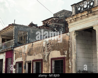 Holguin, Cuba - August 31, 2017: Different types of Homes in the city. - Stock Photo