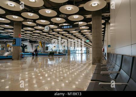 Madrid, Spain - August 22, 2017: Terminal Adolfo Suarez T4 Madrid Barajas Airport - Stock Photo