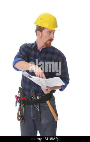 construction worker pointing on architectural plans on white background - Stock Photo