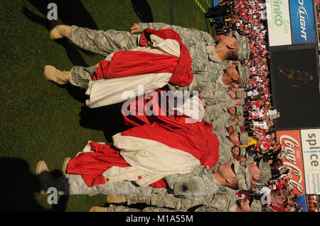 About 125 members of the California National Guard were special guests during the playoff game between the San Francisco - Stock Photo
