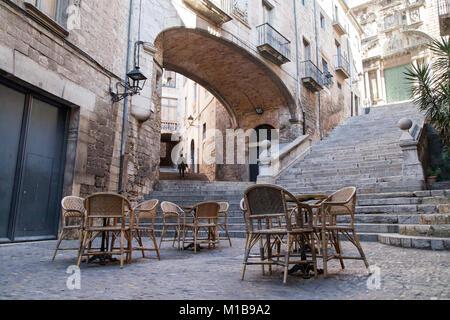 Sant Domenec Stairs in Girona, Catalonia. - Stock Photo