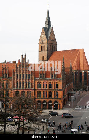 Altes Rathaus and Marktkirche in Hannover Germany - Stock Photo