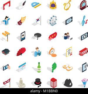 Etiquette icons set, isometric style - Stock Photo