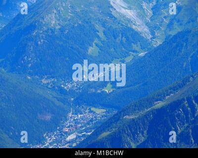 CHAMONIX MONT BLANC village in valley seen from AIGUILLE du MIDI peak at french Alps - Stock Photo