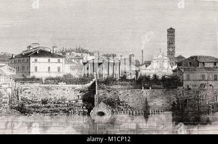 The Cloaca Maxima and the Basilica of Saint Mary in Cosmedin, Rome, Italy, 19th Century - Stock Photo