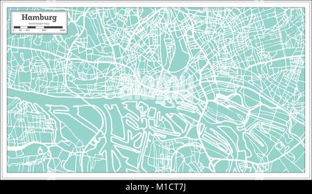 Hamburg Germany City Map in Retro Style. Outline Map. Vector Illustration. - Stock Photo