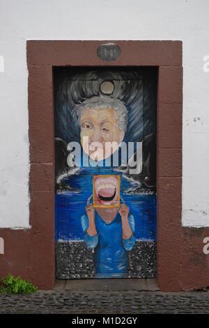 Painted door, Old Town, Funchal, Madeira, Portugal, Bemalte Tuer, Altstadt - Stock Photo