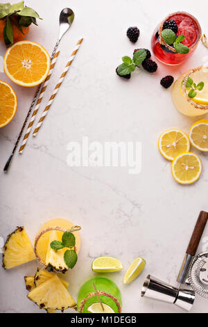 Variety of margarita cocktails - Stock Photo