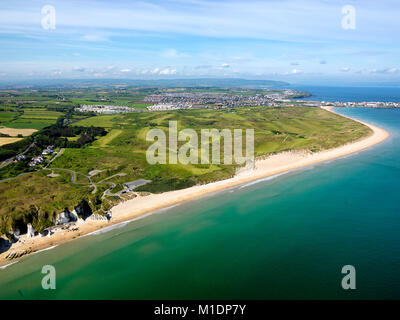 Aerial view over Royal Portrush Golf course, Co. Antrim, Northern Ireland - Stock Photo