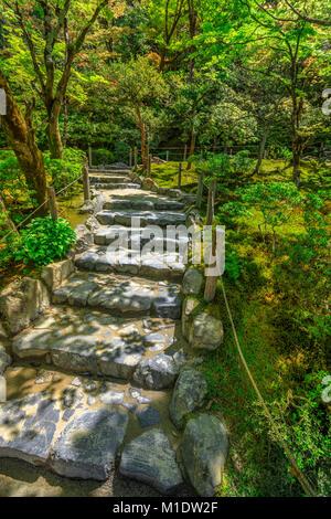 Ginkaku-ji Temple Stairs - Stock Photo