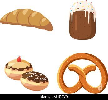 Bakery icon set, cartoon style - Stock Photo