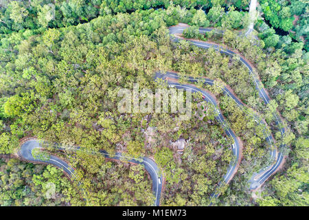 Remote winding turning road through gum-tree woods covering Berowra creek in aerial overhead top down view on a - Stock Photo