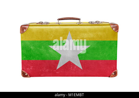 Vintage suitcase with Myanmar flag - Stock Photo
