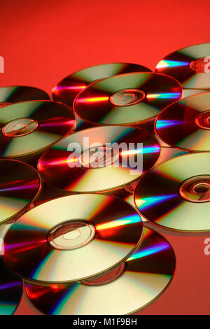 Colourful refraction effects on DVDs - Stock Photo