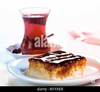 Turkish Traditional Trilece Caramel Dairy Dessert Cake - Stock Photo