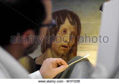 restoration of the piety by Giovanni Bellini, Brera Gallery, Milan - Stock Photo