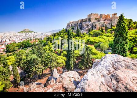 Athens, Greece. Acropolis, ancient ruins of Greek Civilization citadel with Erechtheion temple. - Stock Photo