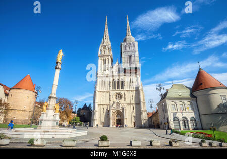 View of cathedral and  Blessed Virgin Mary monument in Zagreb. Croatia - Stock Photo
