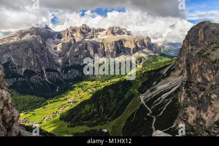 high Badia Valley with Colfosco village and Sella mount, Alto Adige, Italy - Stock Photo