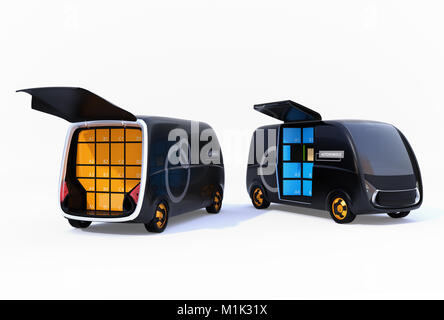 Two delivery vans isolated on white background with doors opened. 3D rendering image. - Stock Photo