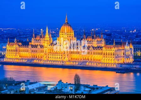 Budapest, Hungary. Hungarian Parliament Building over Danube River. - Stock Photo