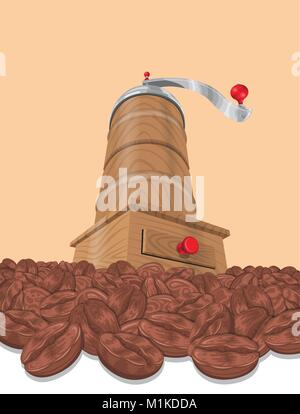 Coffee Grinder and Coffee Beans. Hand drawn illustration. - Stock Photo