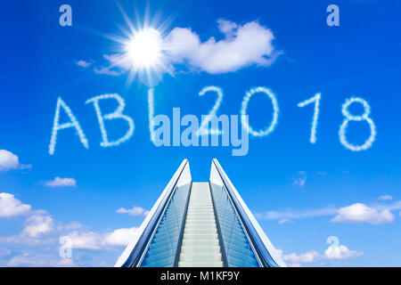 Escalator into a blue sky, concept of achievement, ABI 2018 german text, Abitur meaning high school graduation or - Stock Photo