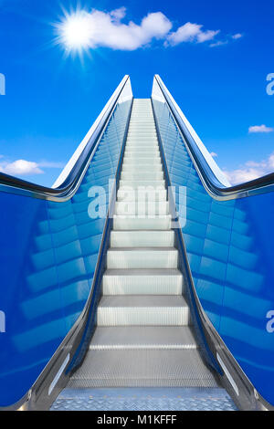 escalator to the blue sky , concept of rising, way to success or heaven, prospect of a bright future - Stock Photo