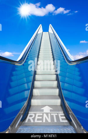 Escalator into a blue sky, concept of achievement, german text RENTE, meaning retirement or pension - Stock Photo