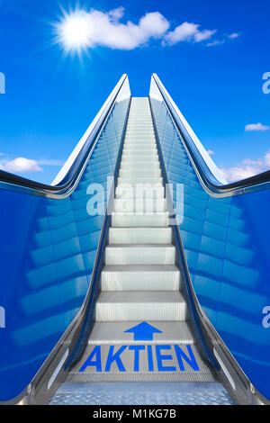 Escalator into a blue sky with german text AKTIEN meaning shares, concept of achievement, making big profits at - Stock Photo