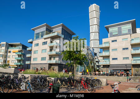 Seaside architecture in the Western Harbour (Vastra Hamnen). Malmo, Sweden - Stock Photo