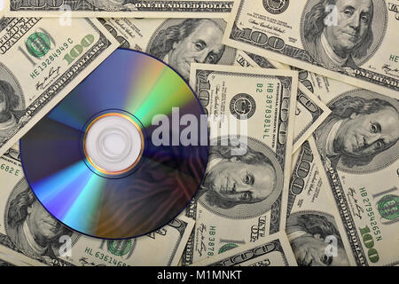 Bank notes, CD, DVD, data protection, tax evasion, pirated copies, etc., Banknoten, Datenschutz, Steuerhinterziehung, - Stock Photo