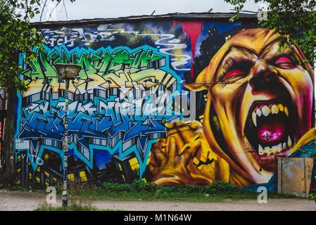 Grafiiti on Christiania District in Copenhagen - Stock Photo