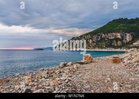 Sunset on Montenegro coast - Stock Photo