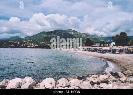 Public Beach on Bar city, Montenegro - Stock Photo