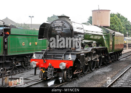 60103 Flying Scotsman LNER Gresley A3 Class 4-6-2 at West Somerset Railway Minehead Station formerly British Rail - Stock Photo