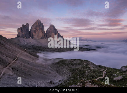 To hike around the Tre Cime di Lavaredo, the most famous mountains in the Dolomites, is a must for every hiking - Stock Photo