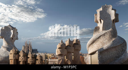 Casa Mila, UNESCO World Heritage Site, Barcelona, Catalonia, Spain, Europe - Stock Photo
