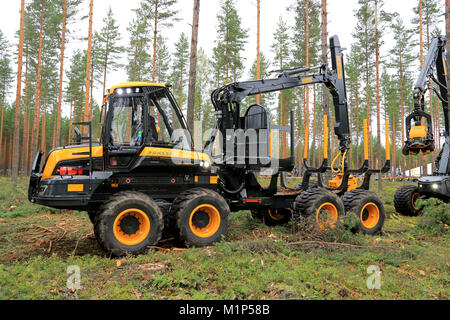 JAMSA, FINLAND - AUGUST 30, 2014: Ponsse forwarder Wisent in a work demonstration. Ponsse presents its new Model - Stock Photo