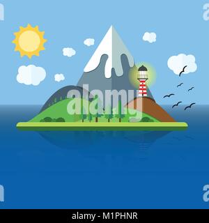 Paradise Island with mountain, hill, tree and birds. Summer time holiday voyage concept. Illustration in flat style. - Stock Photo