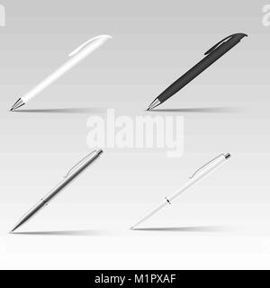 Set of different ball pens . Vector. - Stock Photo