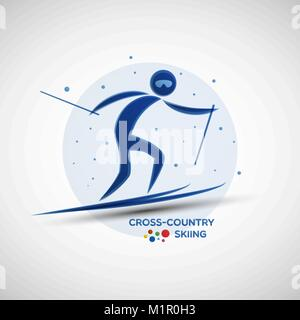 Cross-Country Skiing championship banner. Winter sports icon. Abstract sportsman silhouette. Vector illustration - Stock Photo