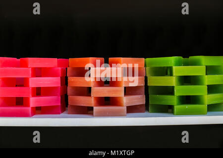 Isolated Stacked Colorful Hand Made Soaps - Stock Photo