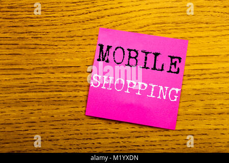 Handwriting Announcement text showing Mobile Shopping. Business concept for Cellphone online order written on sticky - Stock Photo