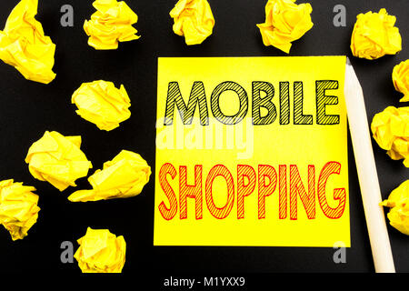 Handwritten text showing Mobile Shopping. Business concept writing for Cellphone online order written on sticky - Stock Photo