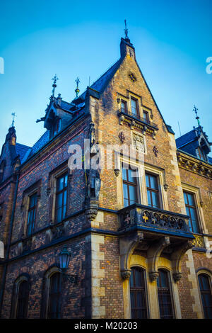 Fragment of old building in hradcany. Prague. Czech Republic - Stock Photo
