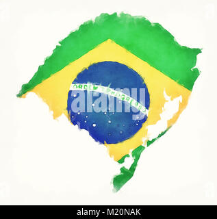 Rio Grande do Sul watercolor map with Brazilian national flag in front of a white background - Stock Photo