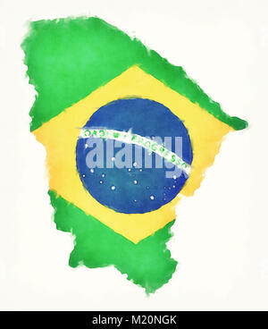 Ceara watercolor map with Brazilian national flag in front of a white background - Stock Photo