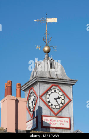 The clock tower and weather vane on top of Carlisle Old Town Hall, Cumbria, England, UK - Stock Photo